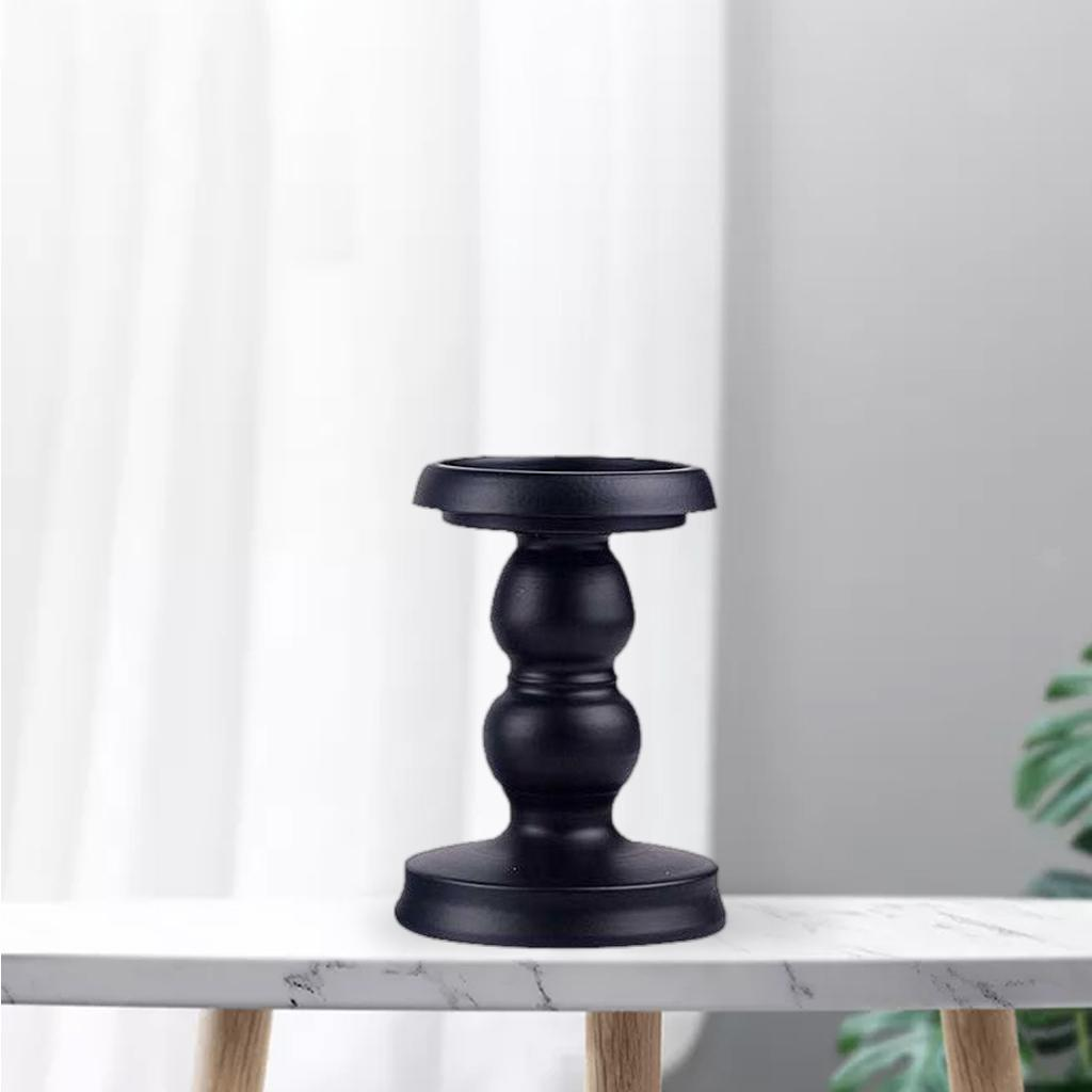 thumbnail 9 - Black Retro Iron Candlestick Pillar Candle Holder for LED and Pillar Candles,