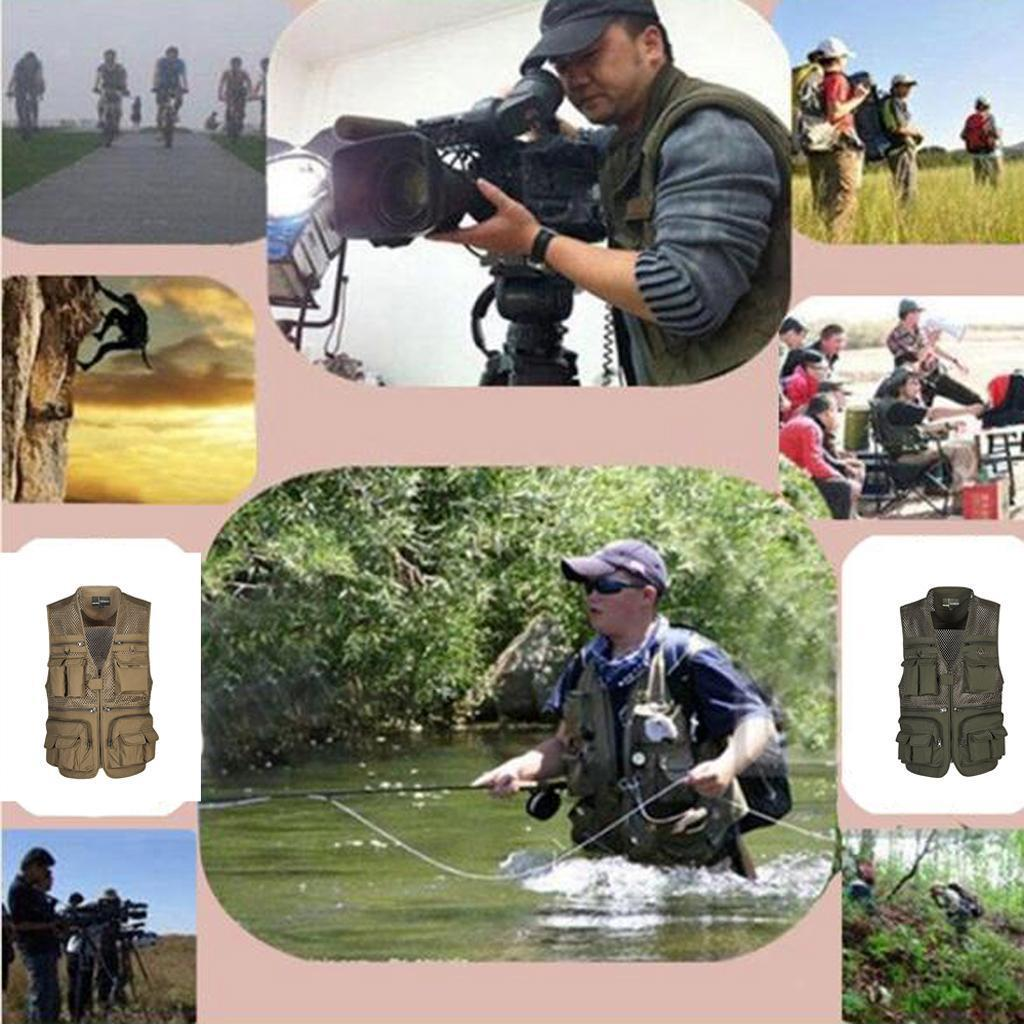 Fly Fishing Mesh Vest Mutil-Pocket Outdoor Fishing Hiking Travel Work Waistcoat