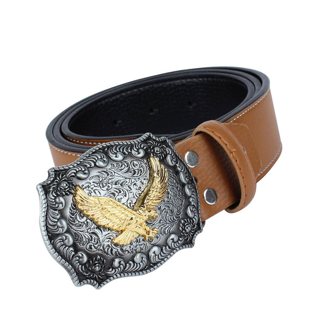 Western-Leather-Flying-Eagle-amp-Arabesque-Cowboy-Belt-Buckle-For-Men-Jeans thumbnail 24
