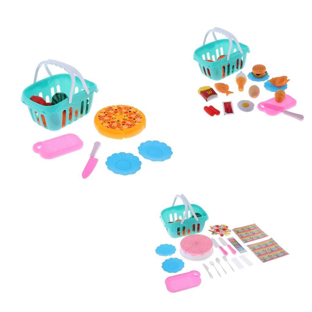 Kitchen-Cutting-Food-Set-Cooking-Toys-with-Cake-Fruit-Pizza-Storage-Basket thumbnail 3