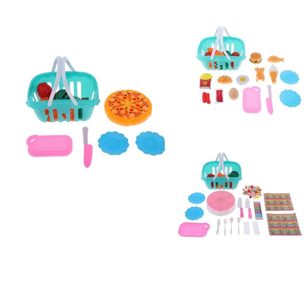 Kitchen-Cutting-Food-Set-Cooking-Toys-with-Cake-Fruit-Pizza-Storage-Basket thumbnail 4