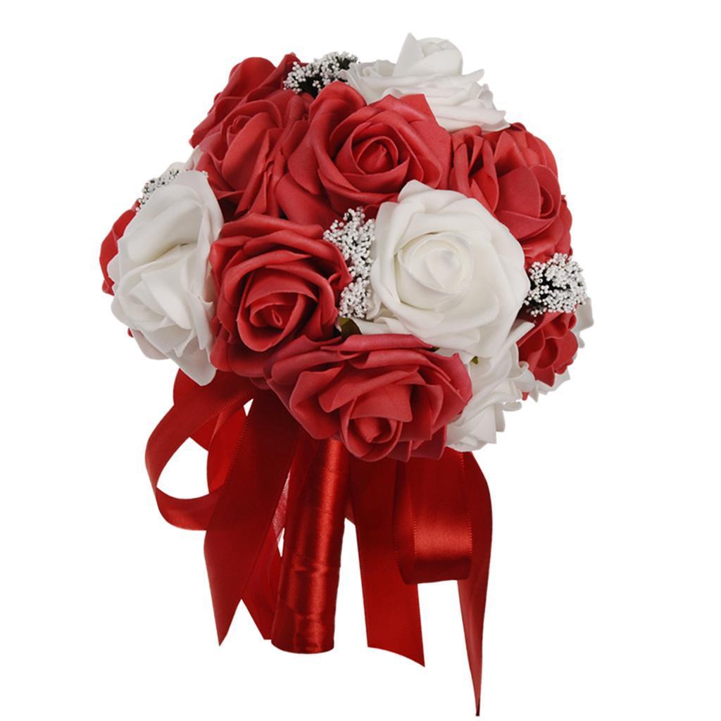 Bouquet-de-Fleurs-en-Mousse-de-Mariage-Enveloppe-de-Satin-et-Decore-de-Rubans miniature 4