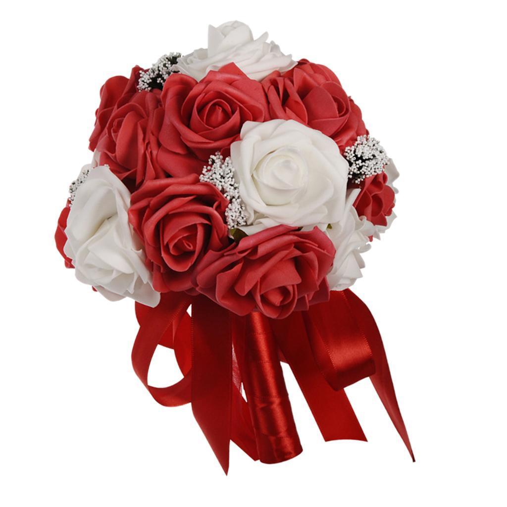 Bouquet-de-Fleurs-en-Mousse-de-Mariage-Enveloppe-de-Satin-et-Decore-de-Rubans miniature 3
