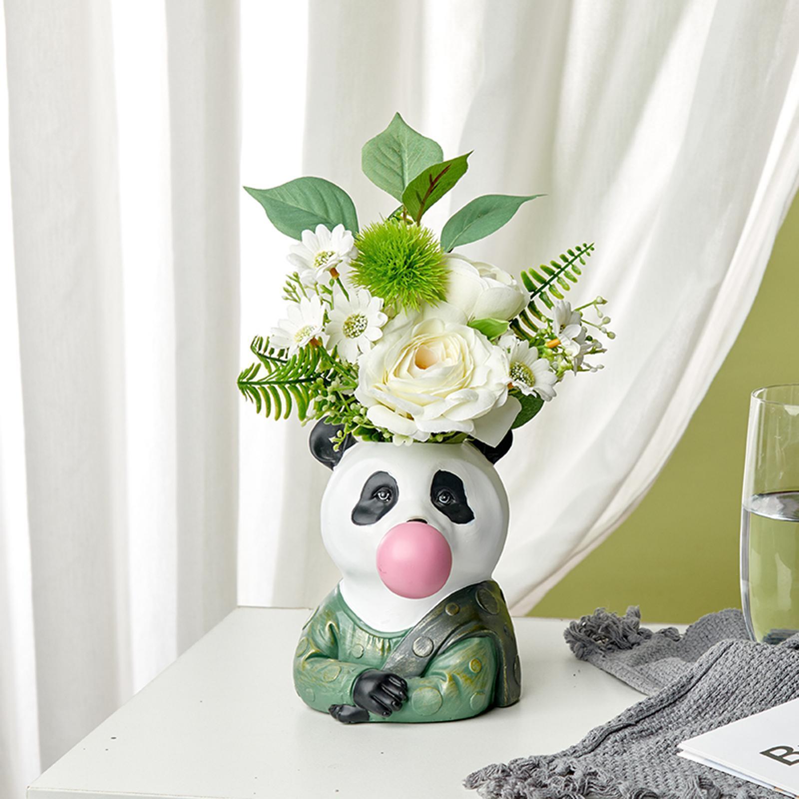 Indexbild 19 - Harz Tierkopf Trockenblume Vase Pflanzer Topf Home Office Bar Desktop Ornament