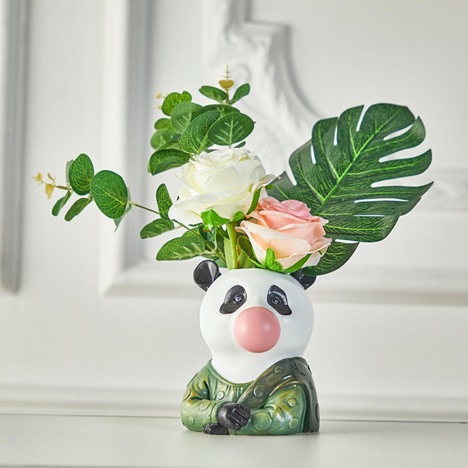 Resin Animal Head Flower Vase Planter Pot Office Desktop