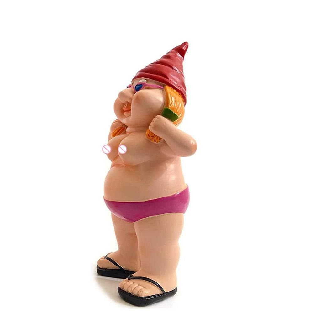 thumbnail 19 - Garden Naked Gnome Statue Lawn Ornament Outdoor Gnomes Figurine Funny Dwarfs