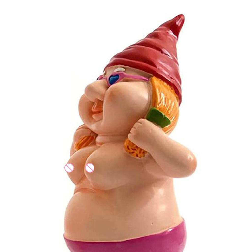 thumbnail 17 - Garden Naked Gnome Statue Lawn Ornament Outdoor Gnomes Figurine Funny Dwarfs
