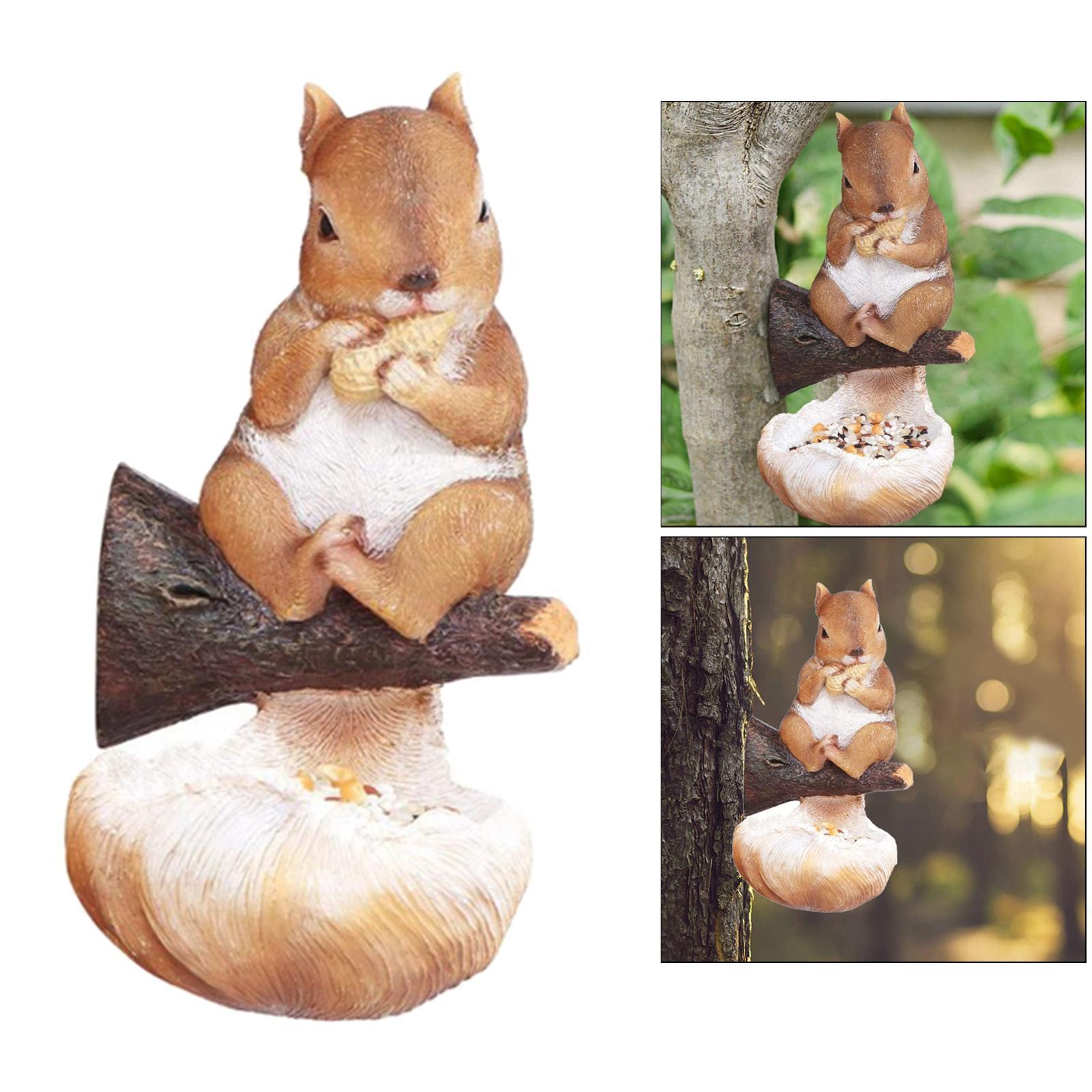 thumbnail 17 - Animal Sculpture Bird Feeder Home Outdoor Tree Decor Bird Feeding Tray