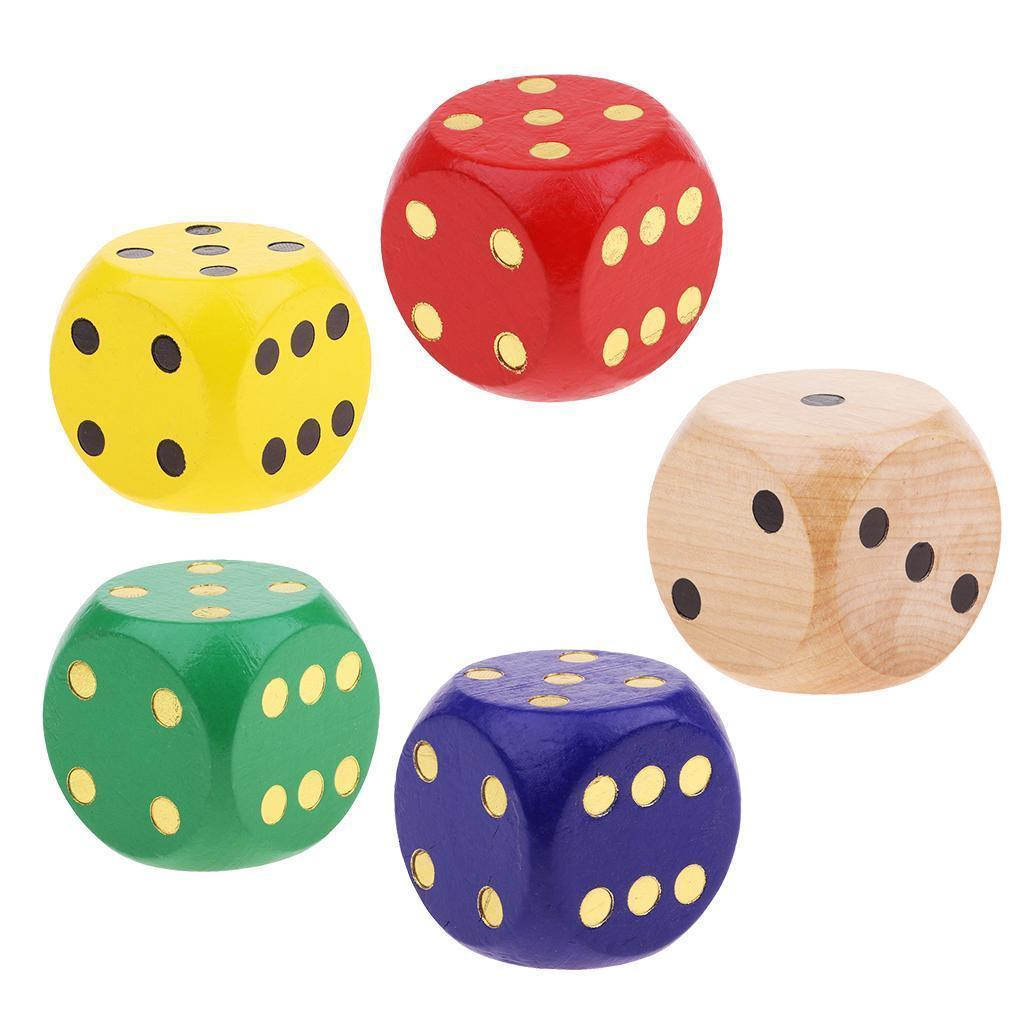 Creative-Wooden-D6-Six-Sided-Dice-5cm-Game-for-RPG-Math-Teaching-Table-Game thumbnail 4