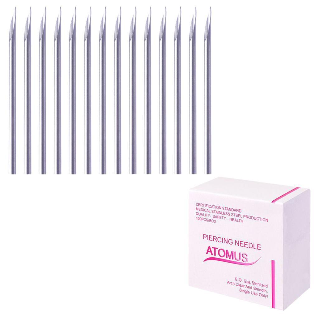 miniatura 9 - Aghi-piercing-sterilizzati-100piece-per-il-naso-dell-039-ombelico-del-corpo