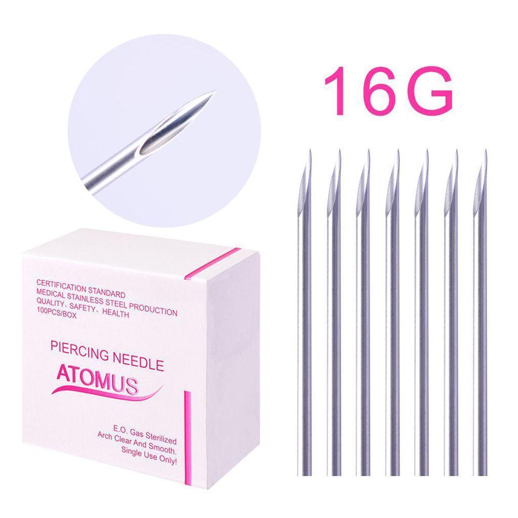 miniatura 8 - Aghi-piercing-sterilizzati-100piece-per-il-naso-dell-039-ombelico-del-corpo