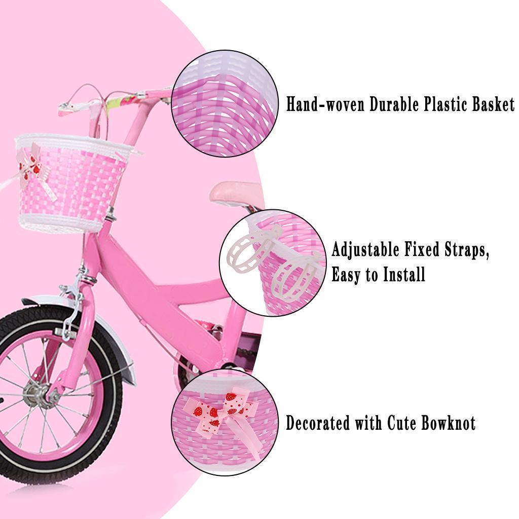 Children Girls Kids Bike Front Handlebar Basket with Plastic Strap Bowknot Decor