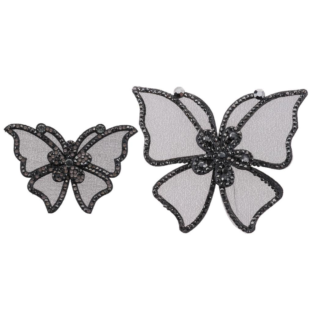 Fashion Black Rhinestones Bow Shoe Clips Buckles Crystal Bowknot Hat Dress Shoes