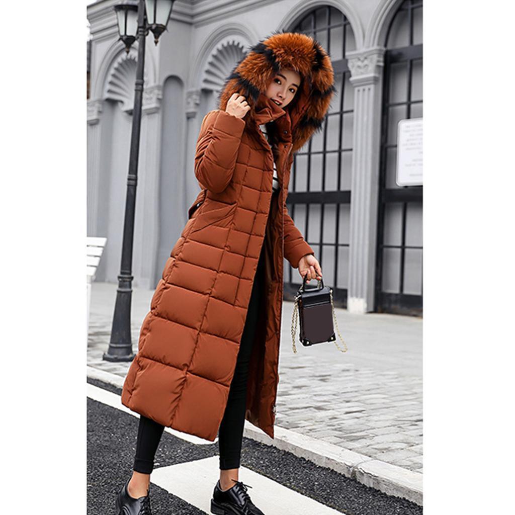 miniature 50 - Manteau long en duvet pour femmes avec col en fausse fourrure Veste matelassée