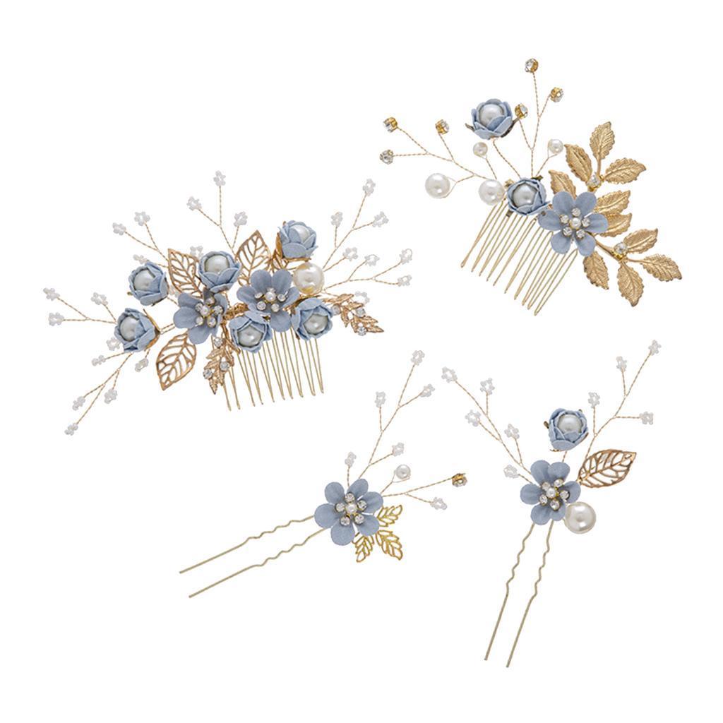 4pcs-mariee-mariage-diapositive-cheveux-peigne-clip-laisse-epingle-a-cheveux miniature 9
