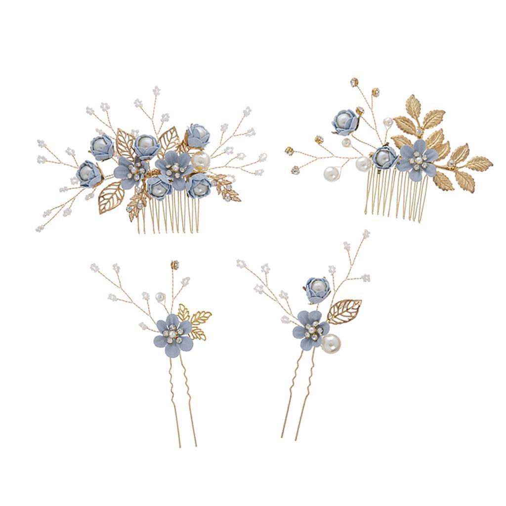 4pcs-mariee-mariage-diapositive-cheveux-peigne-clip-laisse-epingle-a-cheveux miniature 8