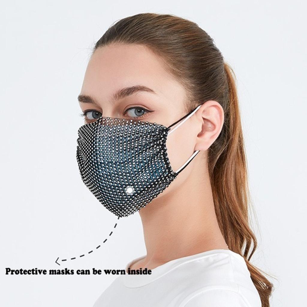 miniatura 6 - 2 pezzi maschera a rete con strass scintillanti maschere per il viso in maschera