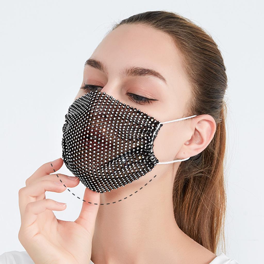 miniatura 7 - 2 pezzi maschera a rete con strass scintillanti maschere per il viso in maschera