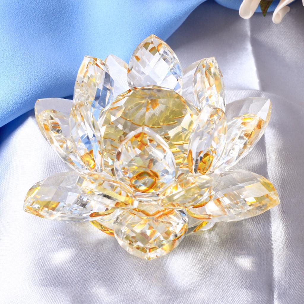 Ornameto-In-Cristallo-Stilo-Fiore-Loto-Feng-Shui-Arredamento-Interno miniatura 3