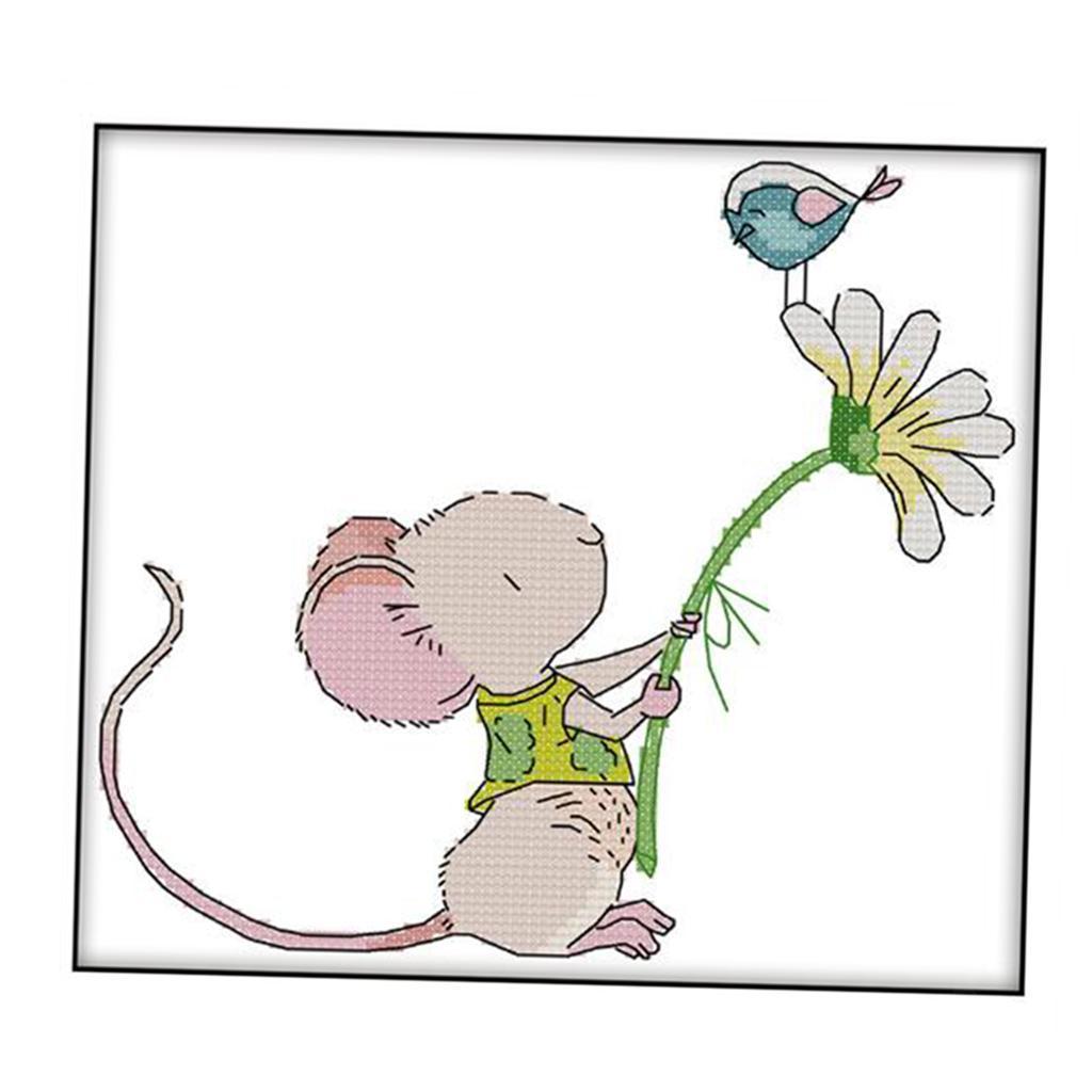 Enfants-Mignon-Fleur-Souris-Oiseau-Point-De-Croix-Kit-Pre-imprime-Travail miniature 4