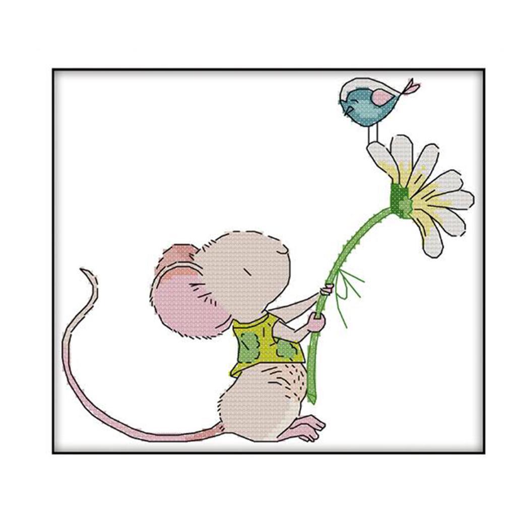 Enfants-Mignon-Fleur-Souris-Oiseau-Point-De-Croix-Kit-Pre-imprime-Travail miniature 3