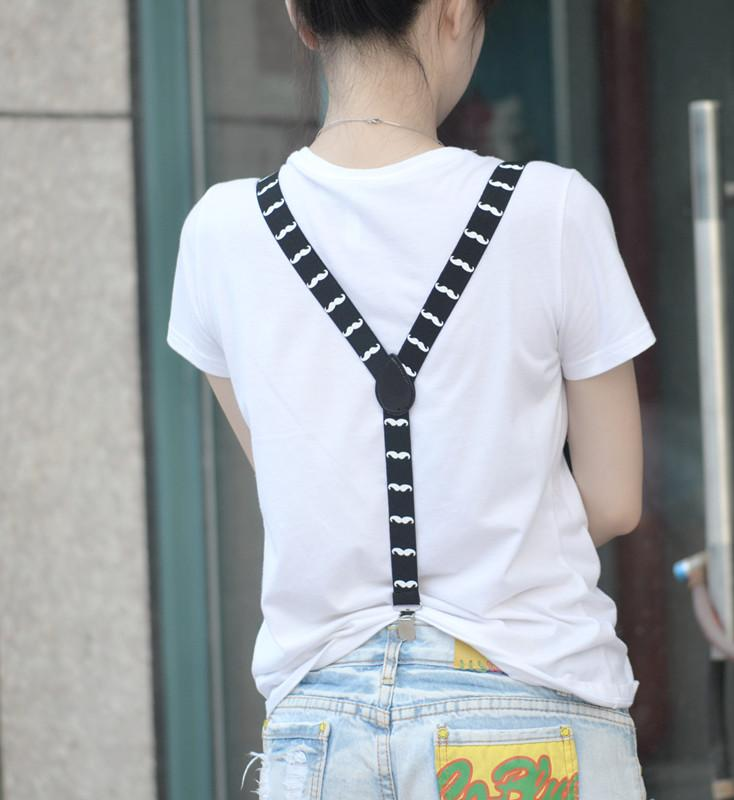 Adult Unisex Clip-on Braces Elastic Y-back Suspender Black