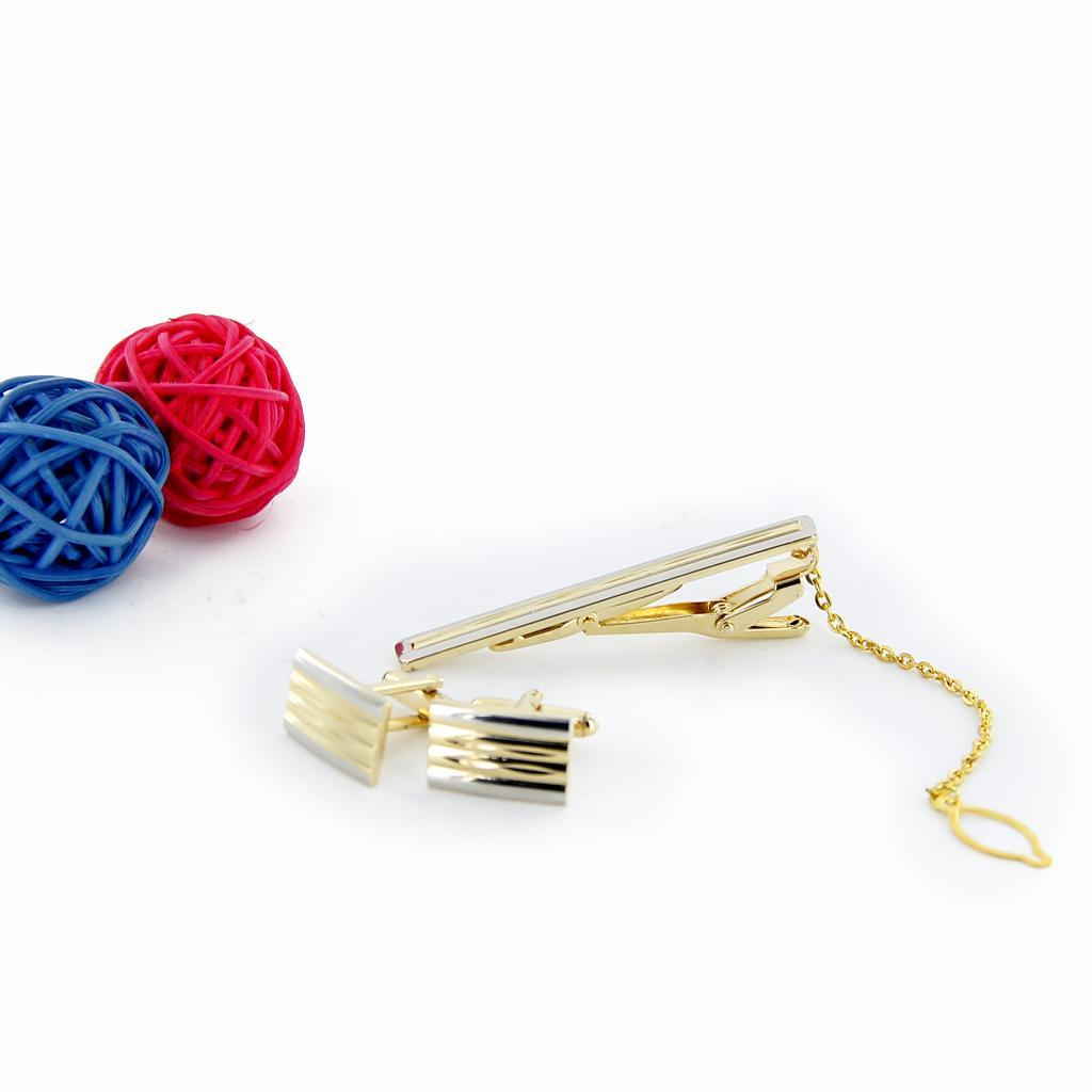 Gold-Cufflinks-Tie-Clasp-Clip-Clasp-Bar-Pin-with-Matching-Box-Case-Men-039-s-Gift thumbnail 11