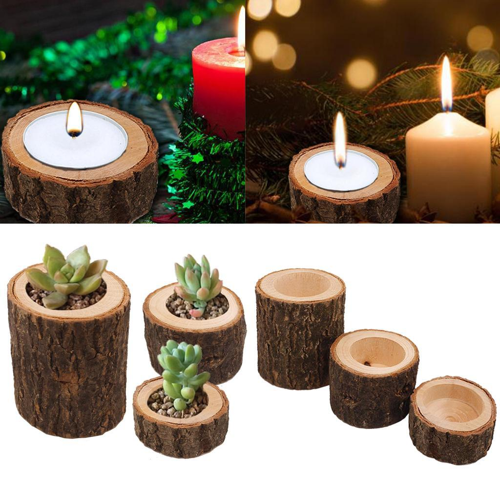 Wooden-Smooth-Candlestick-Tree-Stump-Candle-Stand-Lamp-Holder-for-Home-Room-Deco thumbnail 4
