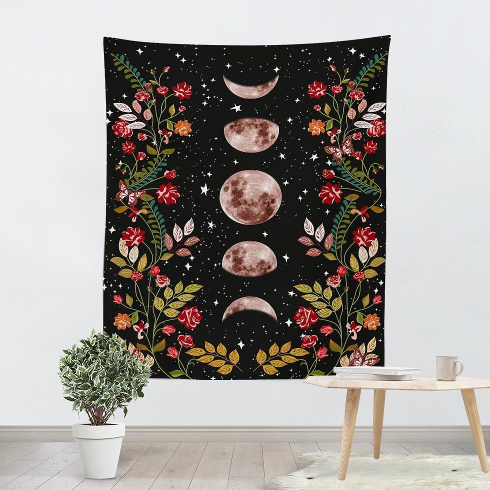 Arazzo-da-giardino-Moon-Star-Arazzi-Fiore-Vine-Arazzo-da-parete-Sfondo-nero miniatura 9