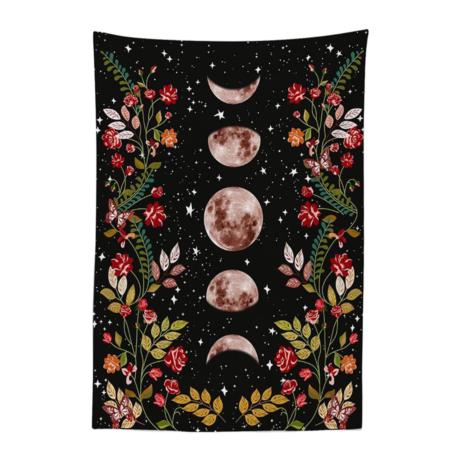 Arazzo-da-giardino-Moon-Star-Arazzi-Fiore-Vine-Arazzo-da-parete-Sfondo-nero miniatura 8