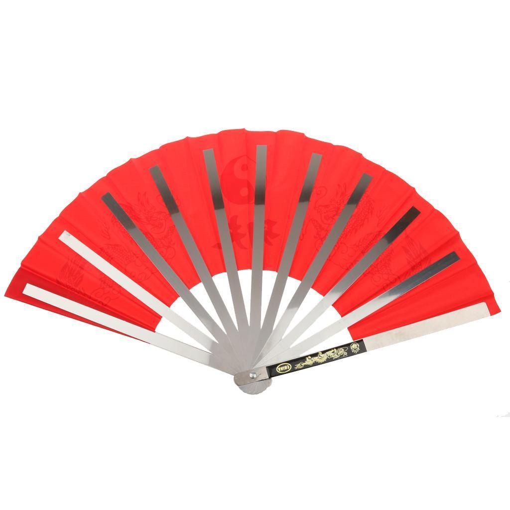 Folding-Chinese-Kung-Fu-Tai-Chi-Practice-Performance-Dragon-Fan-Stainless-Steel thumbnail 6