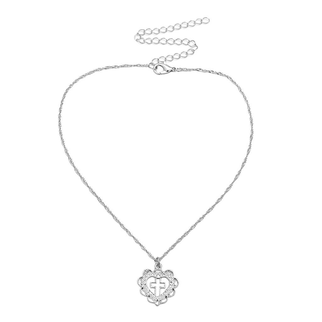 Cross-Jesus-Pendant-Love-Heart-Charms-Necklace-Women-Girls-Birthday-Jewelry thumbnail 7