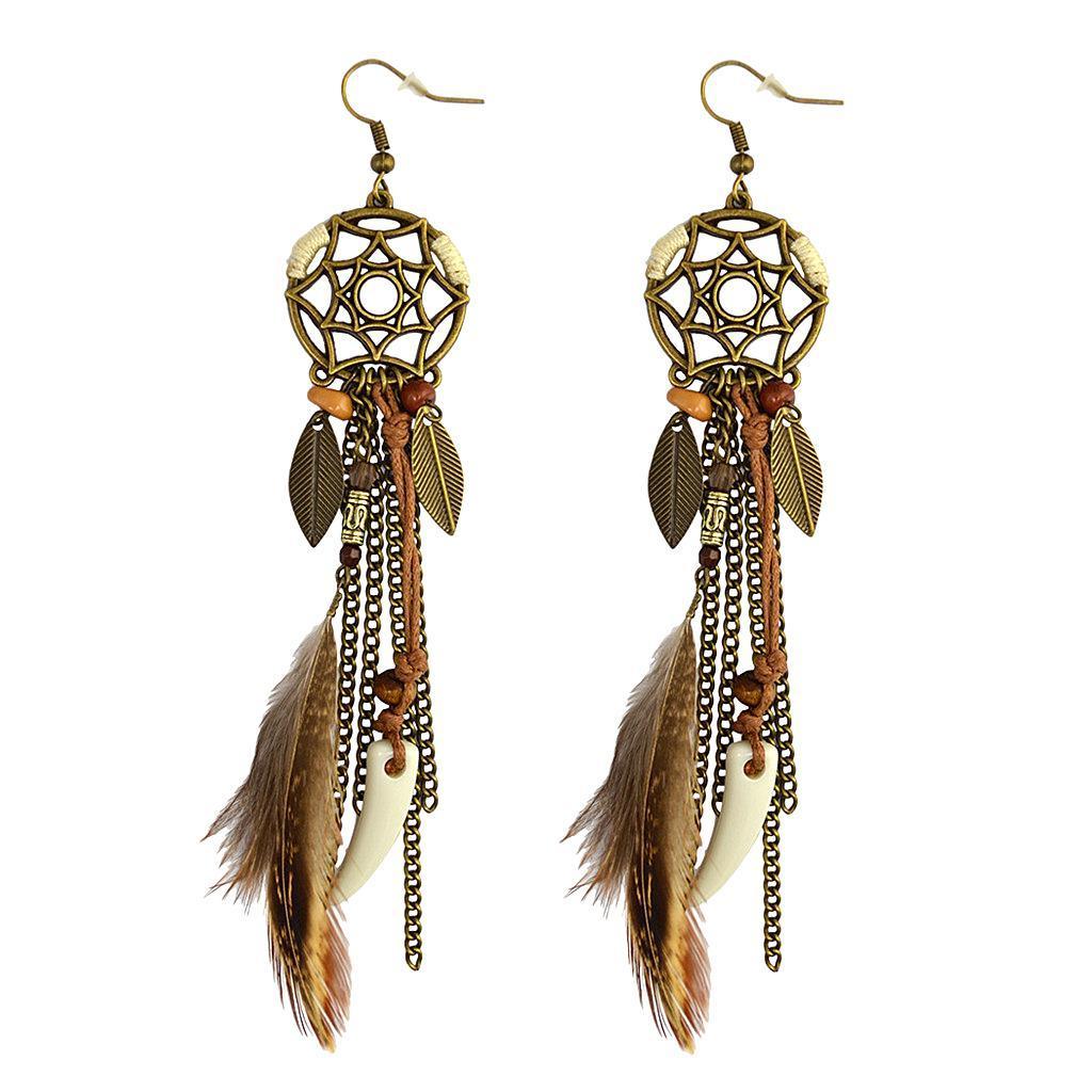 miniatura 3 - Orecchini moda gioielli fantasia in lega di piume fatte a mano da donna etnica