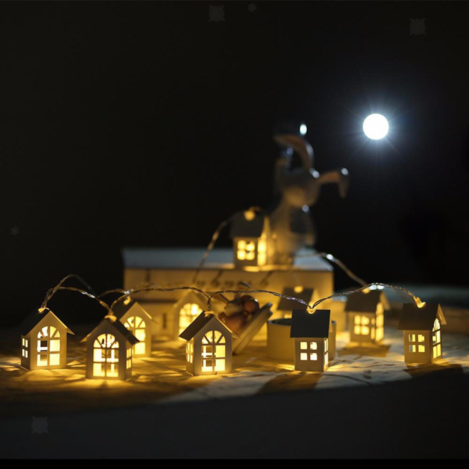 miniature 9 - 10 LED Rideau Guirlandes 6.6ft Fée Lumière de Corde De Noël Toile de Fond Dé
