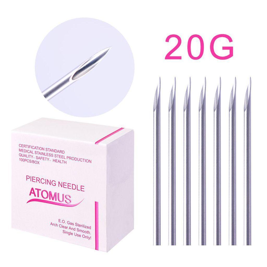 miniatura 12 - Aghi-piercing-sterilizzati-100piece-per-il-naso-dell-039-ombelico-del-corpo