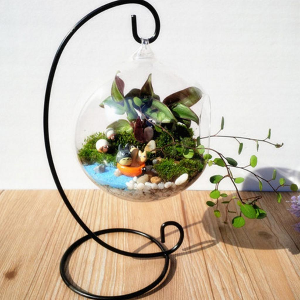 Various-Hanging-Glass-Ball-Tea-Light-Candle-Holder-Flowerpot-with-Iron-Stand thumbnail 7