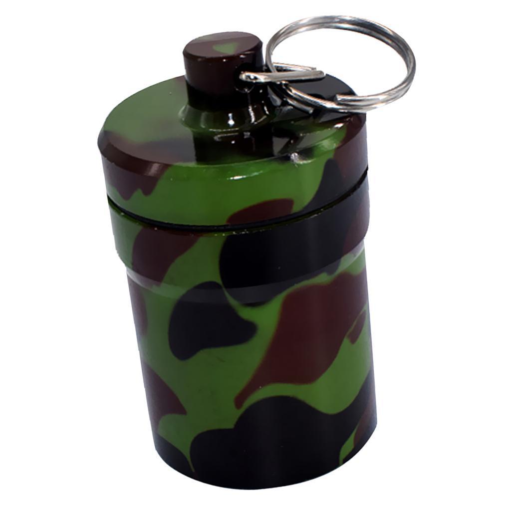 Waterproof Pill Drug Stash Box Keyring Case Bottle Bullet Holder Container LC