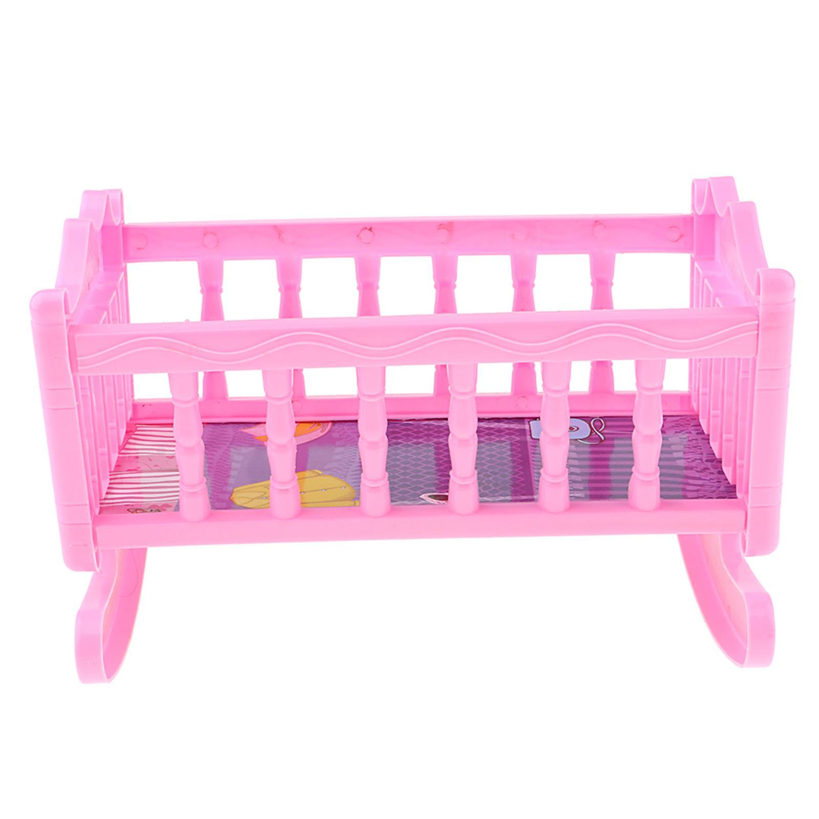 Pink Doll Pram Buggy Pushchair Stroller /& Baby Bed Crib For 25-28cm Doll Toy