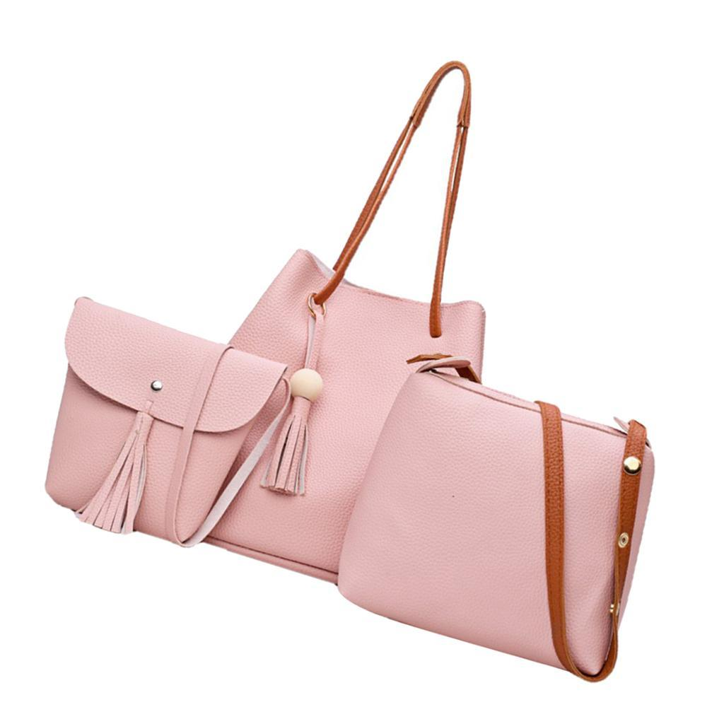 4-teiliges-Fashion-Damenhandtasche-Damen-Handtaschen-mit-Perlen-Anhaenger Indexbild 19