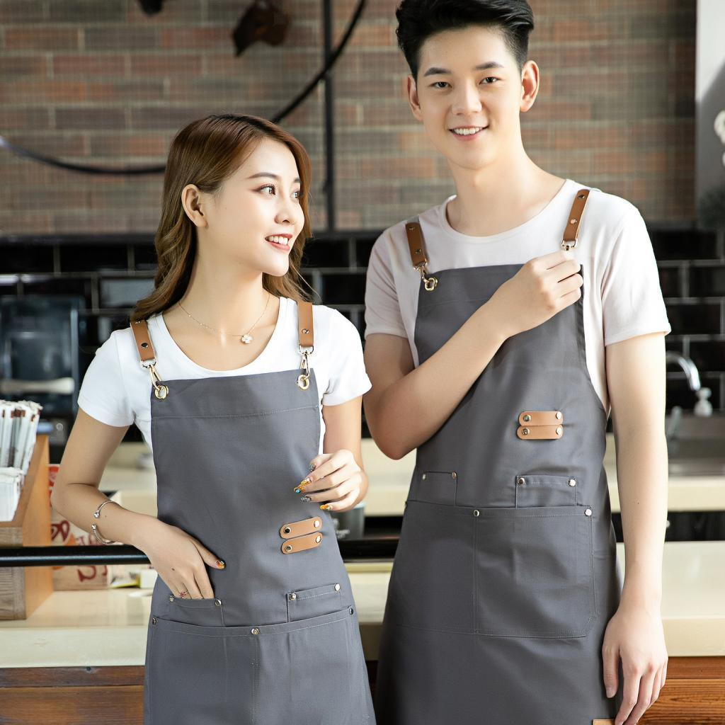 Pro Heavy Duty Waxed Canvas Aprons Barber Butcher Artist Chef Cooking Unisex