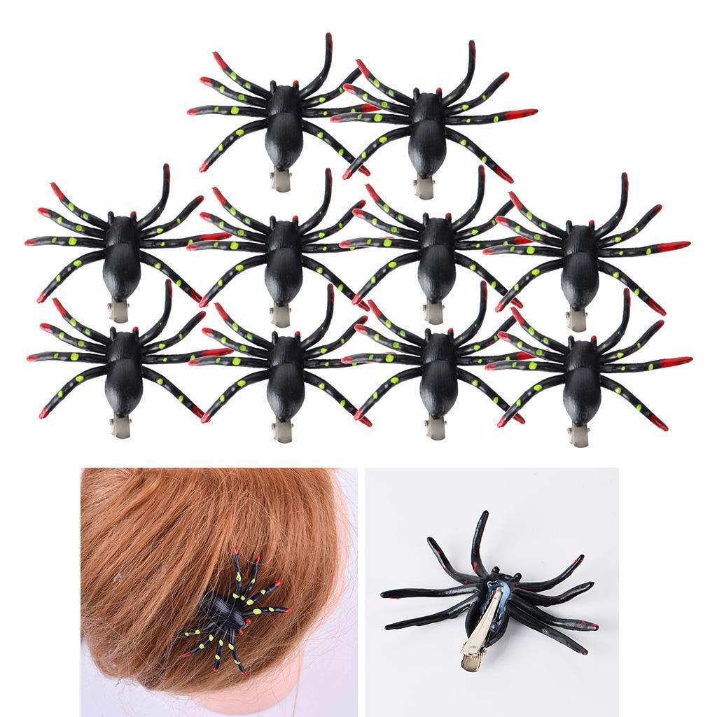 Lot-de-10-pinces-a-cheveux-en-forme-d-039-araignee-Halloween-fantaisie miniature 3