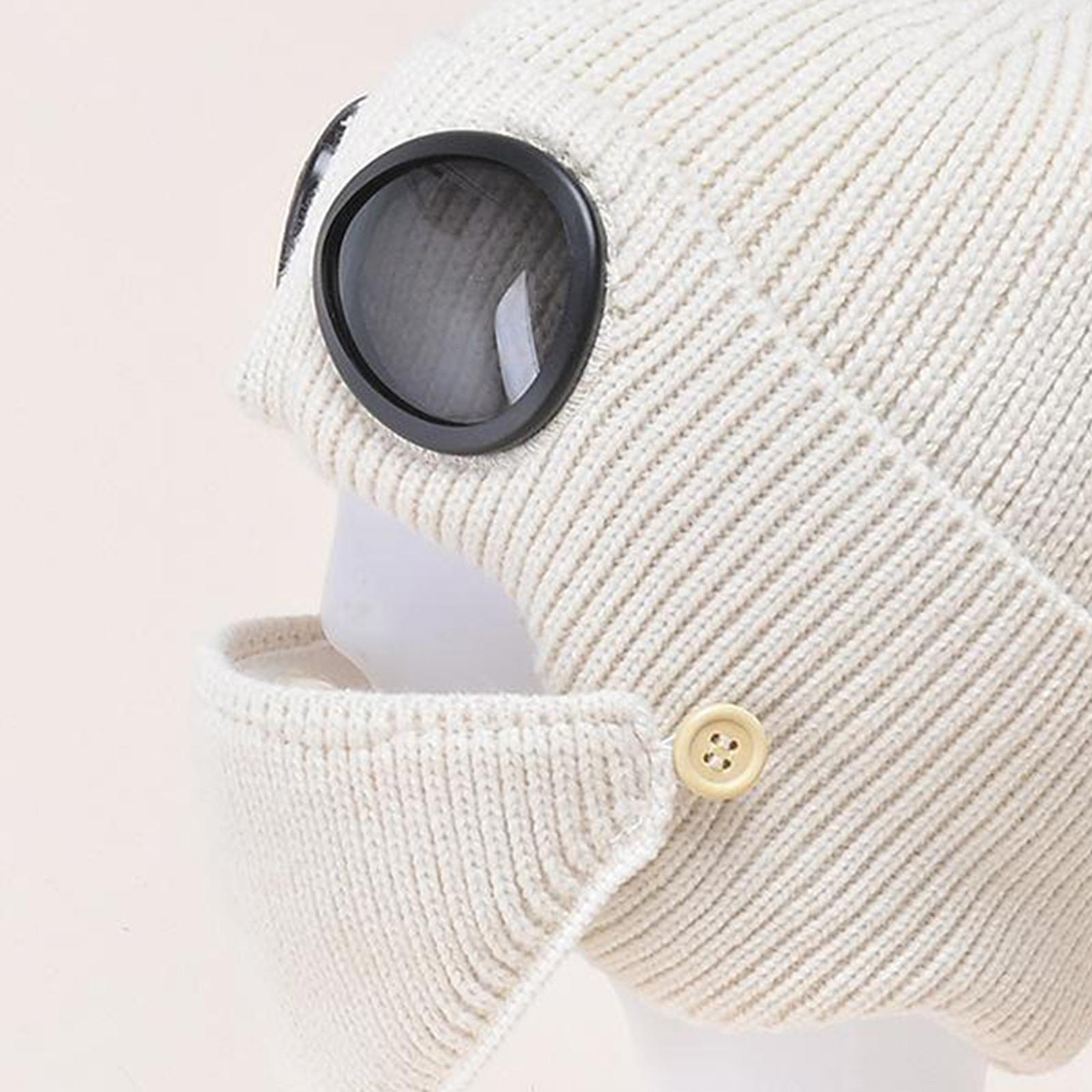 miniature 38 - Masque de tête de visage hiver bonnet chaud avec lunettes casquette d'oreille
