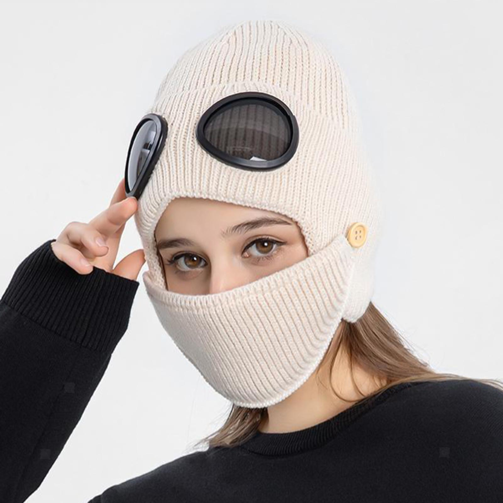 miniature 32 - Masque de tête de visage hiver bonnet chaud avec lunettes casquette d'oreille