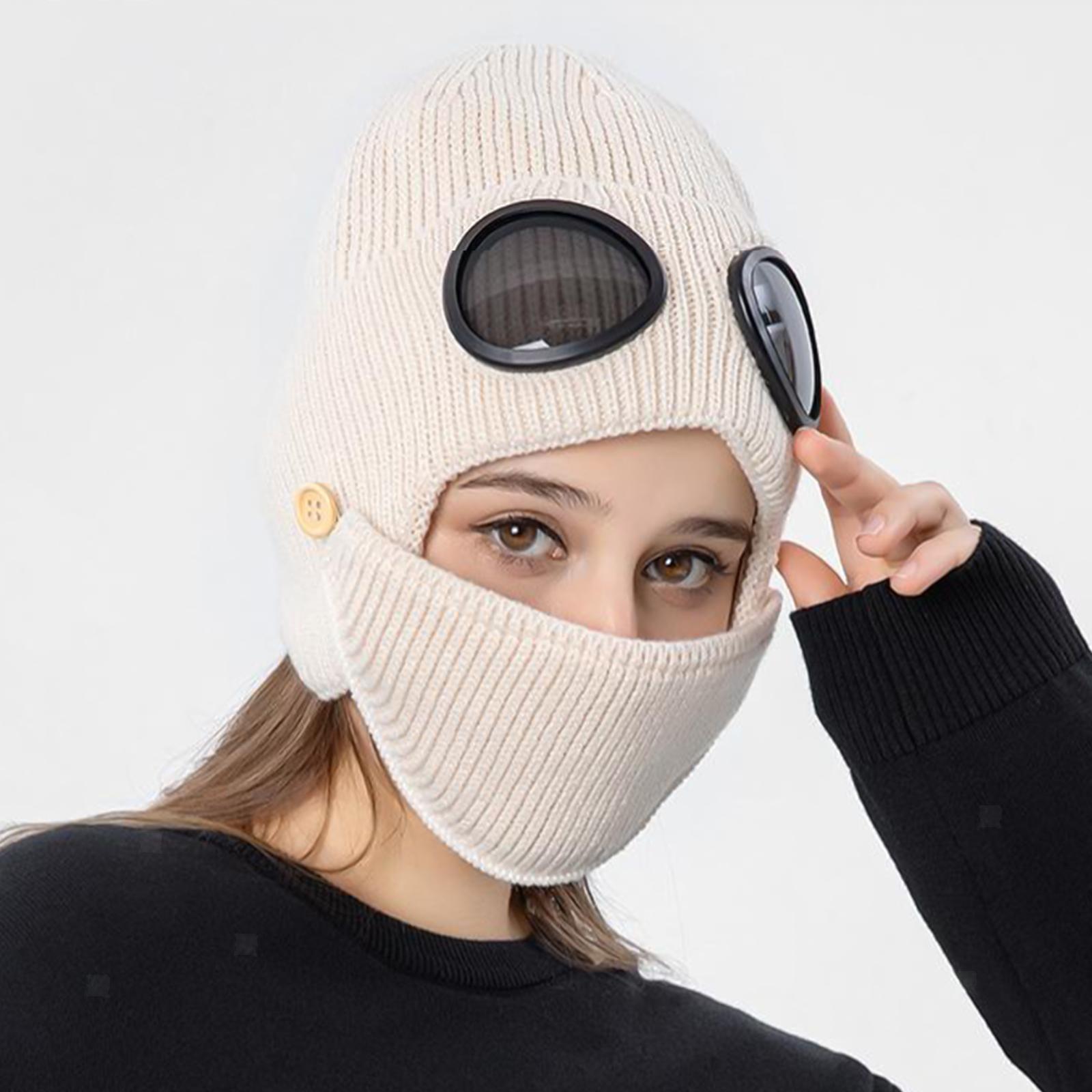 miniature 33 - Masque de tête de visage hiver bonnet chaud avec lunettes casquette d'oreille