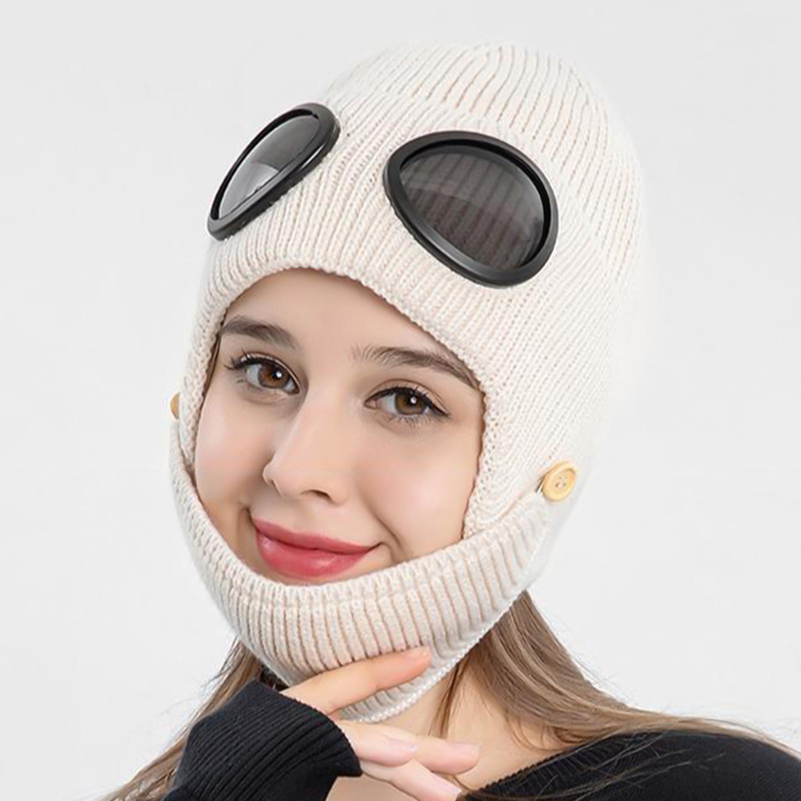 miniature 34 - Masque de tête de visage hiver bonnet chaud avec lunettes casquette d'oreille