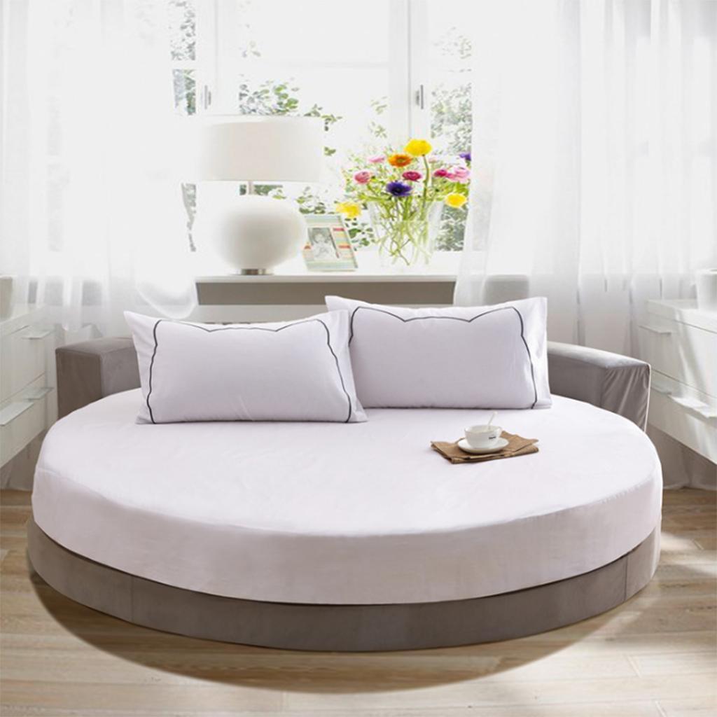 Runde Einfarbig 100% Baumwolle rund Bett Spannbetttuch Bettdecke Weiß