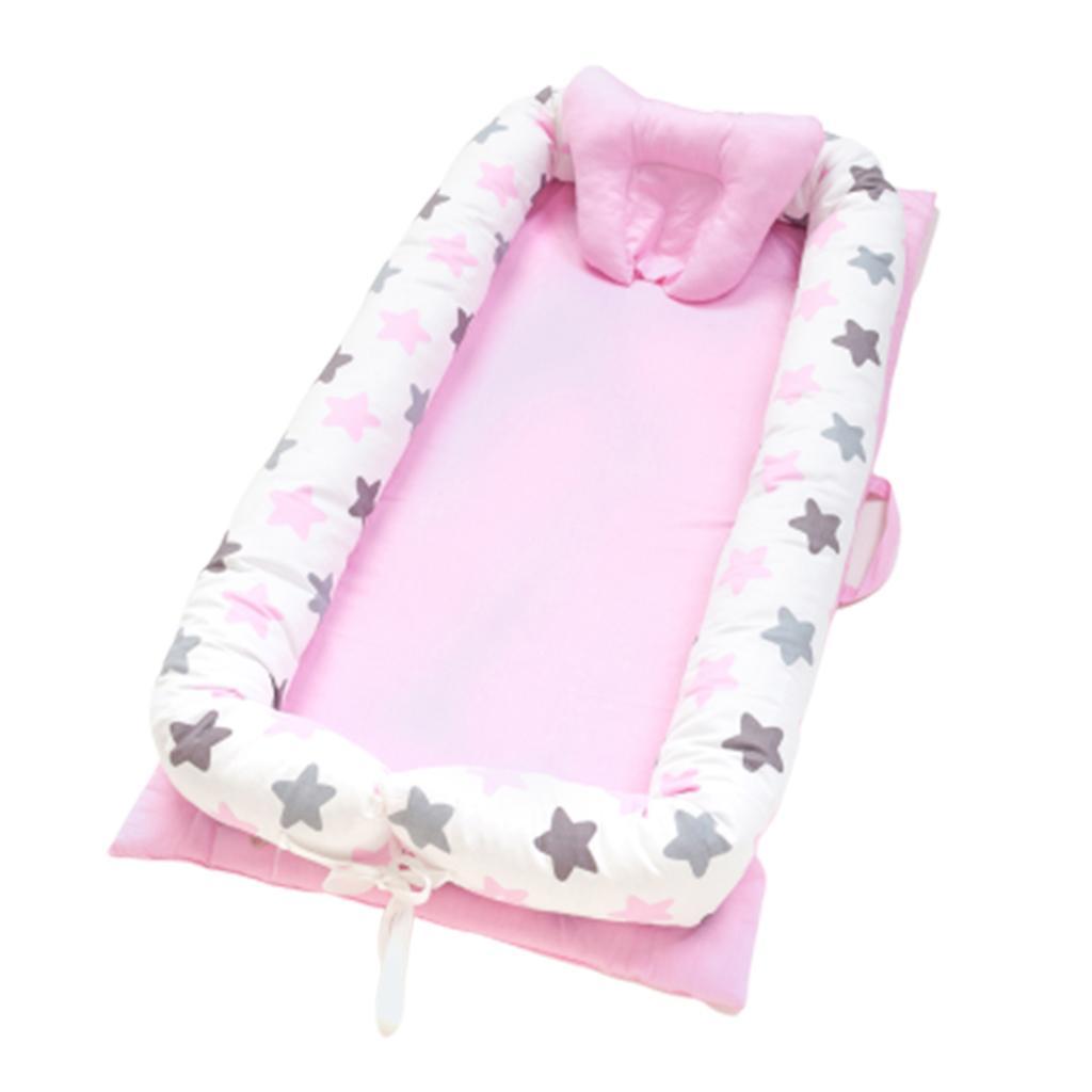 Babywiege Bett 90x50cm Tragbare Babyliege für Neugeborene Kinderbett Star_Pink