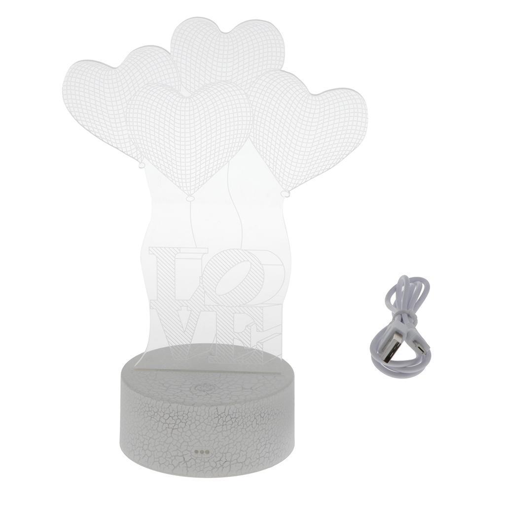 I-LOVE-U-Series-U-Nightlight-LED-Accanto-A-Acrilico-Per-Incisione-Laser-USB miniatura 6