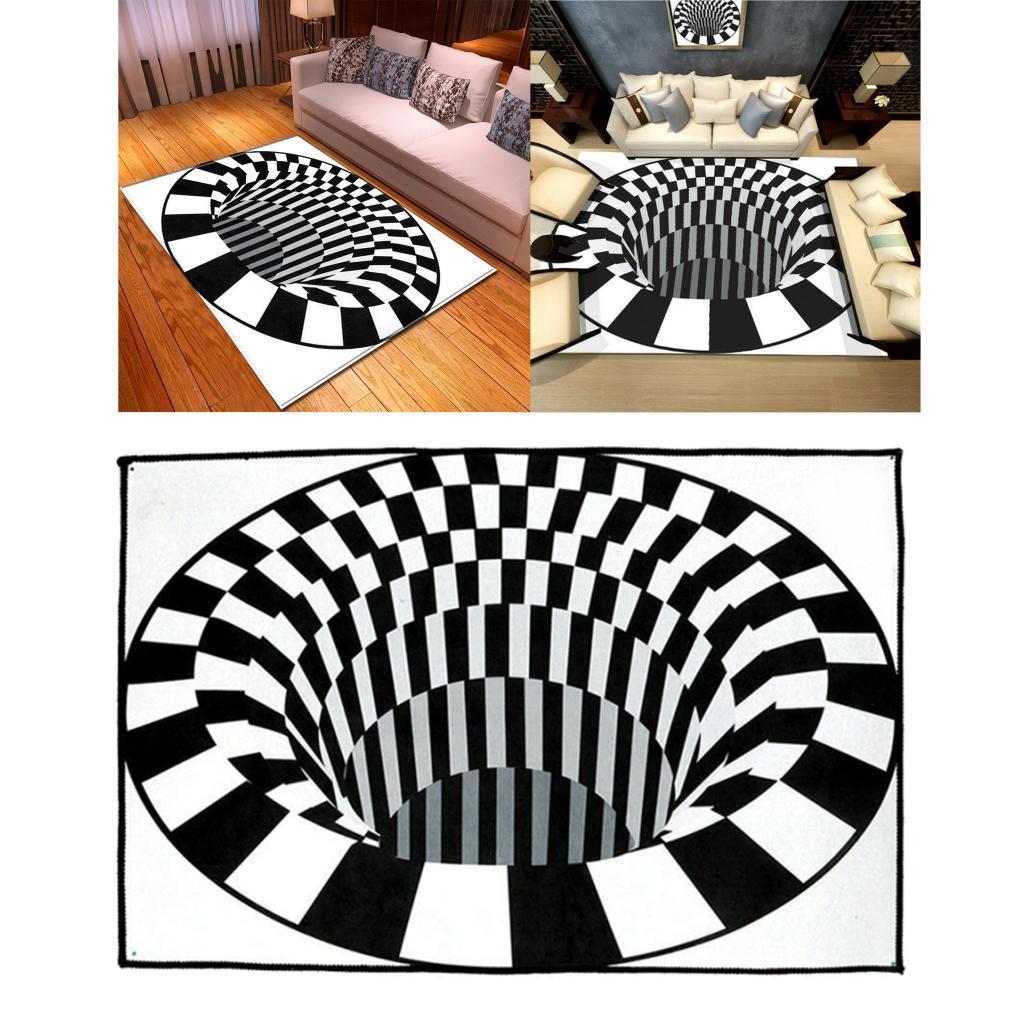 Tappeti-rettangolari-3D-Illusion-Tappetini-per-camera-da-letto-Vortex-Tappeti miniatura 9
