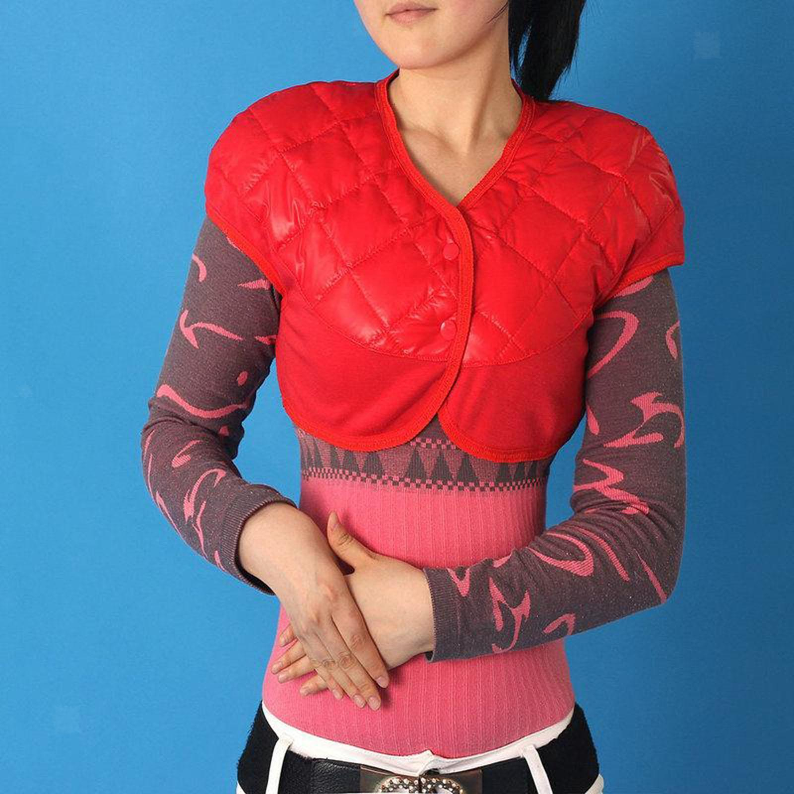 Femmes-Hommes-Down-Jacket-Chaud-Manteau-Court-Epaule-Chaud-Thermique-Wrap miniatura 10